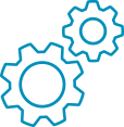 Blue icon with 2 gears