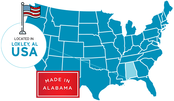 Map of the the USA pointing to Kaishan in Alabama.
